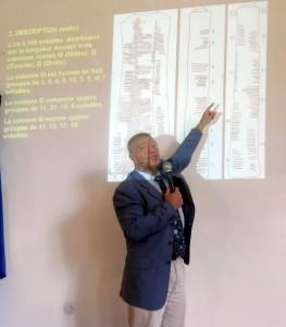 Prof. Vladmir et l'os l'Ishango incurvé avec des entailles
