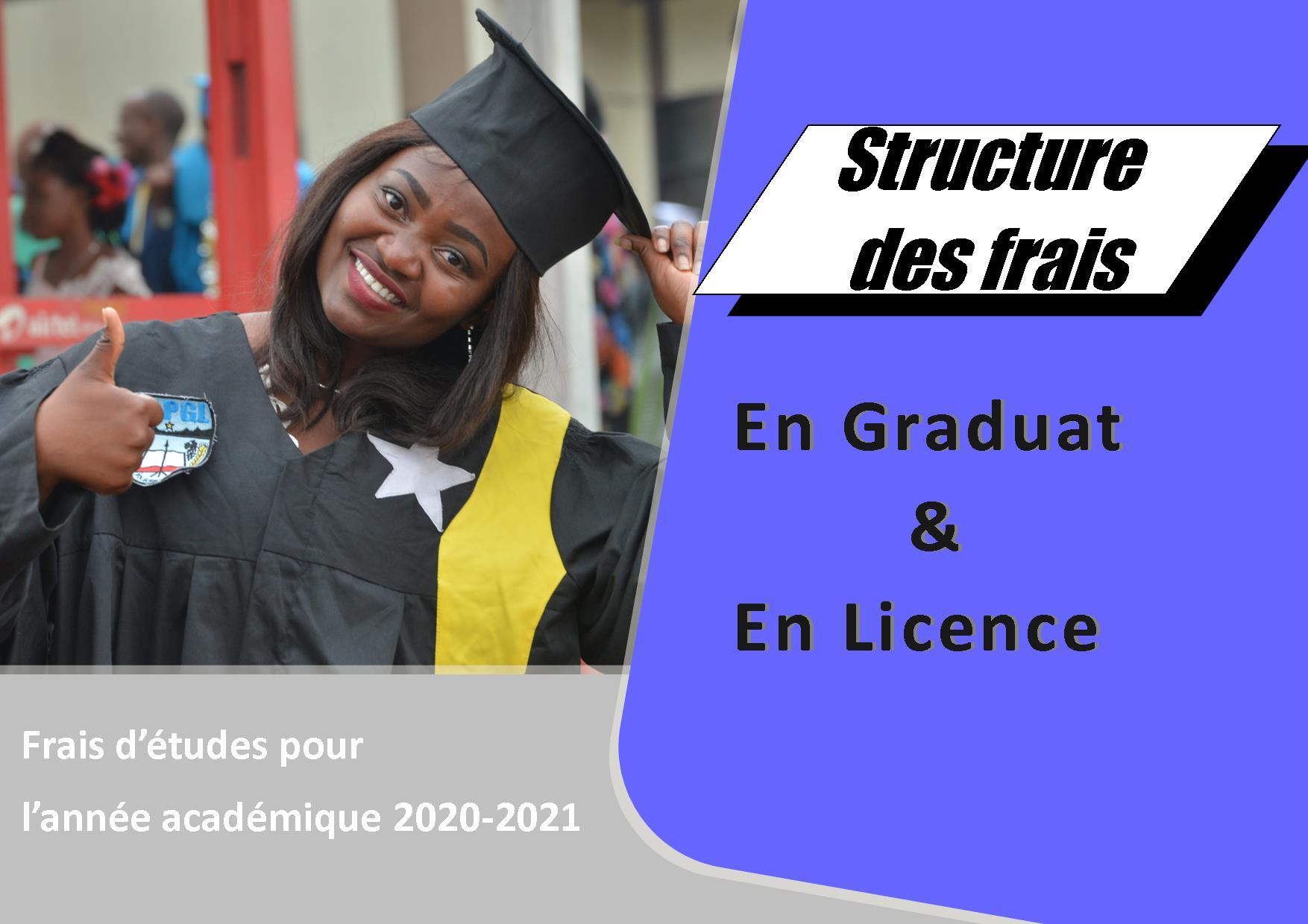 Structure des frais d'études pour l'année académique 2020-2021, en graduat et licence